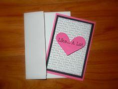Pink & Black Valentine Card, I Love You A Lot, 3D Heart. $4.00, via Etsy.
