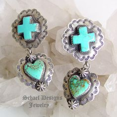 Southwestern Turquoise Square Crosses with Hearts Post Earrings   Schaef Designs Jewelry - LOVE them!!!