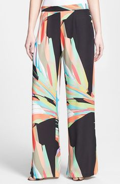 I am having a serious love of printed pants right now! Trina Turk Print Palazzo Pants available at #Nordstrom