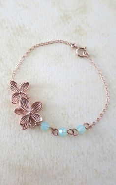 Rose Gold Flower Bracelet - delicate rose gold filled chain, orchid garden, Wedding, bridesmaid, best friends, www.colormemissy.com, by ColorMeMissy