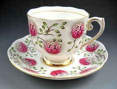 Roslyn Vintage Pink Hydrangea and Gold Accented Tea Cup and Saucer  #Roslyn