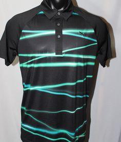 Puma Golf Fluid Light Polo Shirt - Black Scuba Blue Pool Green - 2014 Collection #Puma #PoloShirt
