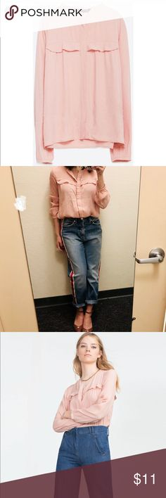 ZARA BLOUSE 👚👚👚 ZARA BLOUSE with frill detail  Size : small  Condition: only wore once 👏 I'm not gonna lie, this shirt needs to iron 👚 I'm too lazy to iron the shirt 🤣🤣🤣🤣 But it gots good color and good style.  It makes you look gooood~  💋🔥💋🔥💋 PS. If you wanna pay less 🤑🤑, find something in my closet and put in the bundle. I'll give you a special and surprising PRIVATE offer 💵 Zara Tops Blouses