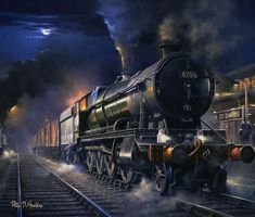 Duchess of the night – Quicksilver Publishing Steam Art, Ghost World, Wooden Boat Building, Road Train, Train Art, Night Train, Train Pictures, Train Engines, Train Tickets