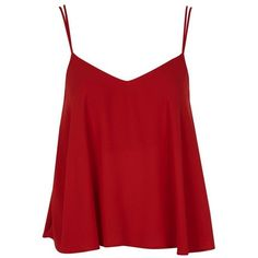 Women's Topshop Rouleau Swing Camisole (39 BRL) ❤ liked on Polyvore featuring tops, shirts, blusas, tank tops, red singlet, camisole tank top, cami shirt, red cami and red tank