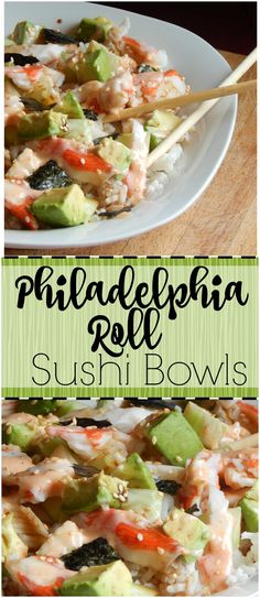 you love sushi? This tastes just like the Philadelphia rolls at my favorite sushi place but is so easy to put together! And you can eat a big ol' bowl of it instead of a lot of little pieces! Sushi Sushi, Sushi In A Bowl, Sushi Salad, Shrimp Sushi Bowl, Sushi Burrito, Asian Recipes, Healthy Recipes, Salads, Recipes