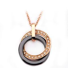 Women's Stainless Steel Rose Gold IP Black Ceramic with CZ Double Circle Pendant Metal Jewelry, Unique Jewelry, Stainless Steel Jewelry, Diamond Bracelets, Jewelry Trends, Diamond Pendant, Washer Necklace, Jewelry Design, Women Jewelry