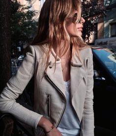 Off White leather Jacket / Street style 2015