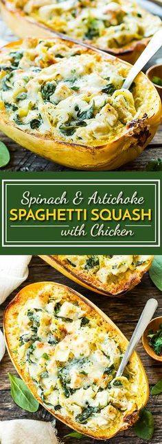Spinach Artichoke Spaghetti Squash Boats with Chicken | A healthy, low-carb, gluten free dinner recipe for spaghetti squash that is full of artichokes, fresh spinach and chicken. An easy weeknight dinner recipe!