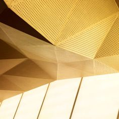 Ceiling, geometric, metal, mesh, unexpected, tall windows, gold, drama