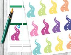 Road Stickers, Travel Stickers, Planner Stickers, Erin Condren, Plum Paper, Limelife, Happy Planner. de SandiaDesignShop en Etsy