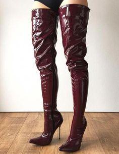 42af425eac1 LETHAL 12cm Weapon Silver Metal Stiletto Heel Crotch Hi Show Boot Patent  Shiny PVC Raisin Wine