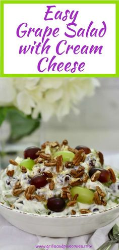 Easy Grape Salad with Cream Cheese recipe is quick, simple and delicious. Toasted pecans and brown sugar top this old-fashioned, make-ahead, Fruit Salad With Cream, Salad Cream, Grape Recipes, Fruit Salad Recipes, Fruit Salads, Jello Salads, Cream Cheese Dips, Cream Cheese Recipes, Ideas