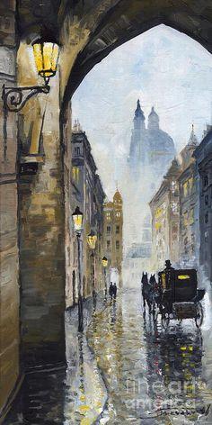Prague Old Street 01 Painting  - Prague Old Street 01 Fine Art Print
