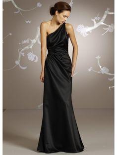 A-line One Shoulder Long Black Satin Bridesmaid / Prom / Evening / Formal / Wedding Guest Dresses