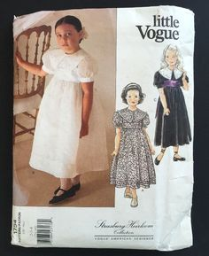 Little Vogue Sewing Pattern 1754 by Strasburg Heirloom Collection. Dress Size 2 3 4 Uncut FF…