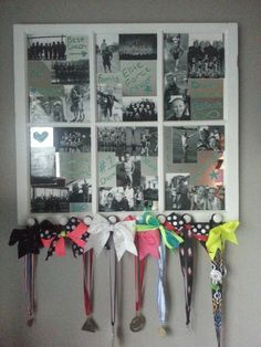 Mirror with black and white photos with crayola window crayons to write on mirror. Hot glued knobs to bottom of mirror to hang bows and medals. Cheer Sister Gifts, Cheer Gifts, Cheer Mom, Cheer Stuff, Cheerleading Crafts, Cheers Photo, Football Cheer, Spirit Gifts, Cheer Quotes