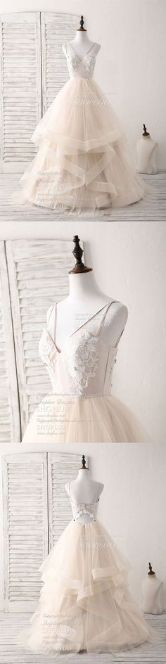 Champagne v neck tulle lace applique long prom dress sweet 16 dress, champagne tulle long formal dress