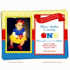 Snow White Invitation Snow White Birthday by ThreeLittleParties