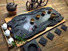 Only one tea tray Blocks chinese tea serving tray handmade dragon high grade art