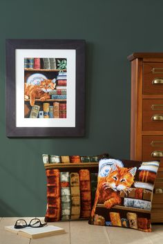 #books #cat #vervaco #crossstitch #framed #countingkit #cushions