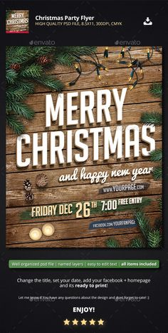 Buy Christmas Party Flyer by Piotr_Markowiak on GraphicRiver. Christmas Party Flyer High Quality PSD file, x 300 DPI, CMYK Well organized psd file with named layers, eas. Christmas Party Poster, Christmas Invitations, Christmas Design, Christmas Wood, White Christmas, Christmas Christmas, Christmas Ideas, Xmas, Christmas Cocktail