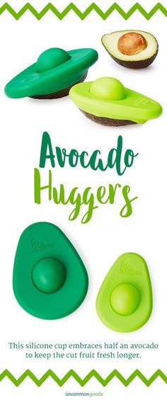 of 2 - 1 Small & 1 Large Avocado Hugger - Avocado Huggers - Set of 2 This silicone cup embraces half an avocado to keep the cut fruit fresh longer.This silicone cup embraces half an avocado to keep the cut fruit fresh longer. Cool Kitchen Gadgets, Smart Kitchen, Ikea Kitchen, Kitchen Pantry, Kitchen Hacks, Cool Gadgets, Kitchen Tools, Cool Kitchens, Kitchen Appliances