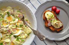 Salata de oua cu maioneza si ceapa Yami Yami, Romanian Food, Spice Blends, Potato Salad, Spices, Food And Drink, Appetizers, Eggs, Chicken
