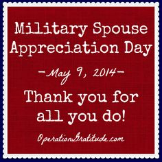 We have a lot of love and respect for all the military spouses out there. Today is their day to be honored and recognized for their service and sacrifice.   #MilitaryAppreciationMonth