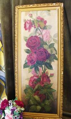 Antique Victorian Yardlong Roses Oil Painting Dated 1909 Ornate Frame |