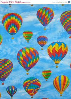 ON SALE Rainbow Colors Hot Air Balloon by fabricsandtrimmings, $8.48