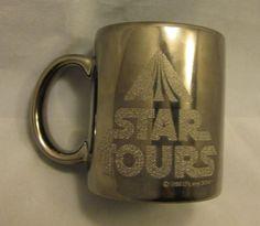 Disney Star Wars Tour Coffee Mug Cup Silver Chrome Stainless 1986 Lucas Films