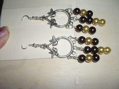 orecchini base ucellini perle  vetro oro di uncinettotuttomatto su Etsy