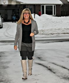 grey striped skirt, boyfriend cardigan from Old Navy and the Jessie Boot from Shoe Dazzle 1 #fashion #outfit #style #fashionover50 #shadesofgrey
