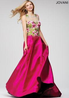 Fuchsia Floral Prom Dress 24915