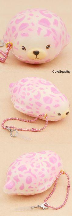 Kawaii pink leopard print seal squishy!