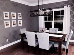 A DIY Stenciled Dining Room Using The Chelsea Allover Stencil To Achieve Wallpaper Look