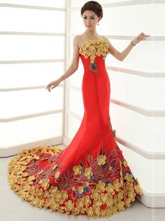 Red Strapless Satin Chapel Train Cheongsam / Qipao / Chinese Wedding Dress