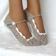 Skinny Flats by Genevieve Designs, artfire.com #DIY Slippers #Crochet #artfire