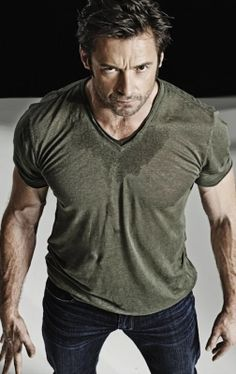 hugh jackman, omg! Get rid of the shirt & put more hair on the chest! Delicious!
