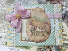"Easter card using Authentique's Springtime line of papers, 8x8"" size. Vintage in KC card class."