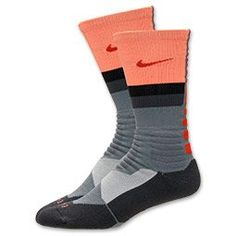 Nike Hyper Elite Fanatical Crew Socks | FinishLine.com | Cool Grey/Anthracite/Team Orange