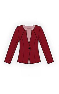 Chaqueta - Patrón de costura #4624 Patrón de costura a medida de Lekala con descarga online gratuita. Entallado, Costura de corte princesa, Canesú, Botonadura, Escote en V, Sin cuello, Mangas largas, Mangas normales, Sin bolsillos