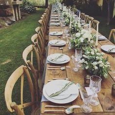 Maui wedding inspiration, wedding place setting, rustic wedding, gold flatware, greenery Rentals// @signaturemaui @winterevents Flowers// @mandygracedesigns Tableware// @setmaui ( @belledestinationevents via @latermedia )