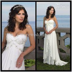 Hot Sale Sexy A Line Strapless Sweetheart Empire Waist Appliques Chiffon Wedding Dresses Beach Wedding Dress 2013 Summer Casual Bridal Gowns