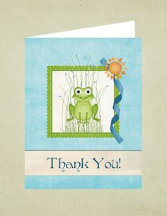 Adorable frog thank you card.  Digital download.  Download now, print forever.  $3.99.  Etsy - A Higher Calling.