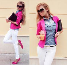 Calliope Blazer, Terranova Denim Shirt, Bershka Jeans, Bershka Clutch, House Loafers