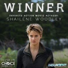 Initiates, you did it! #ShaileneWoodley takes home the People's Choice Award for Favorite Action Movie Actress. #Insurgent #PCAs