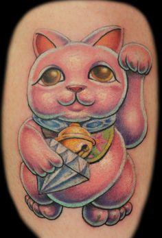 Lucky Cat / Maneki Neko tattoo. (www.danielpokorny.deviantart.com)
