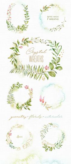 Crystal. Floral & Polygonal Bundle by OctopusArtis on @creativemarket